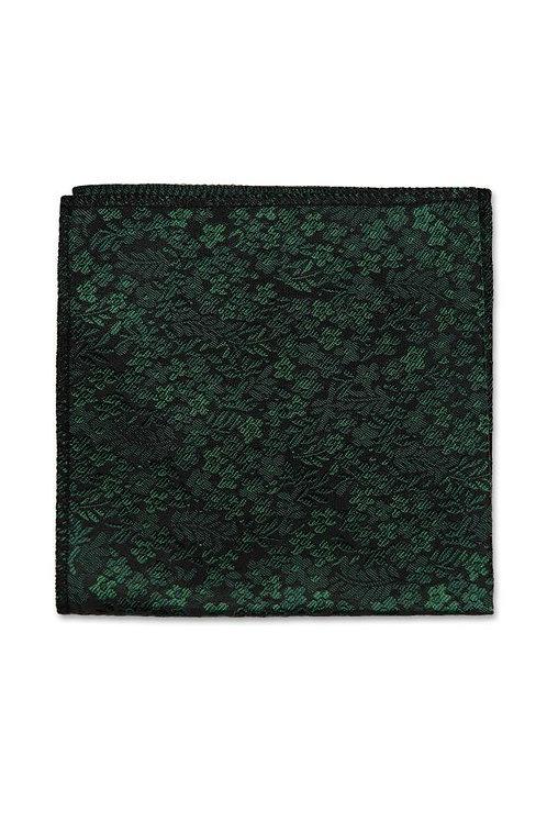 Dark Green Floral Pocket Square