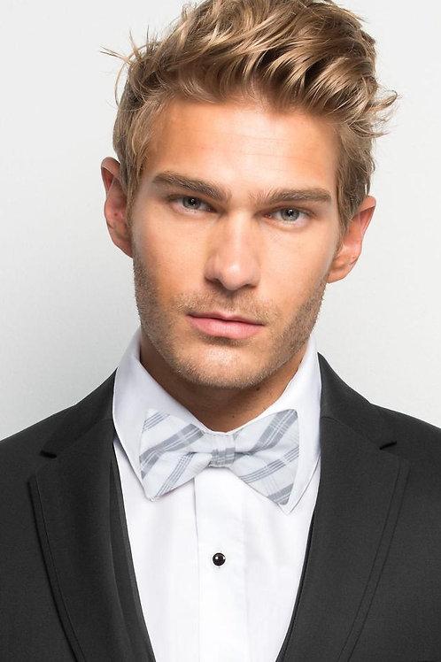 White Plaid Bow Tie
