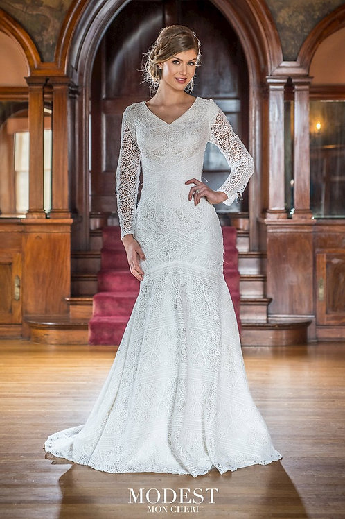 TR22051 Modest by Mon Cheri Fit & Flare Wedding Dress- To Order