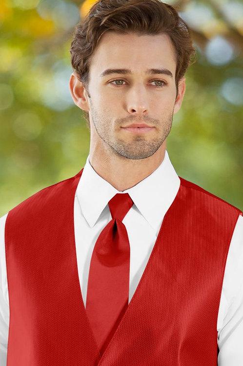 Solid Herringbone Ruby Windsor Tie