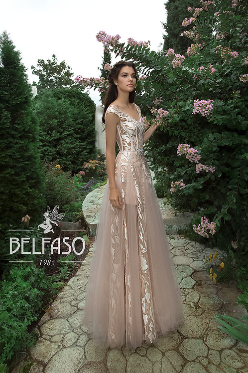 Tea Rose Aqua Belfaso Sheath Wedding Dress- To Order