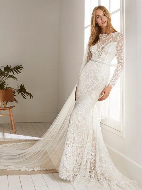Ortiva Pronovias Sheath Wedding Dress-IN STOCK