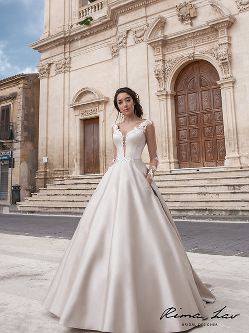 Cameron with Sleeves Rima Lav A-line Wedding Gown- IN STOCK