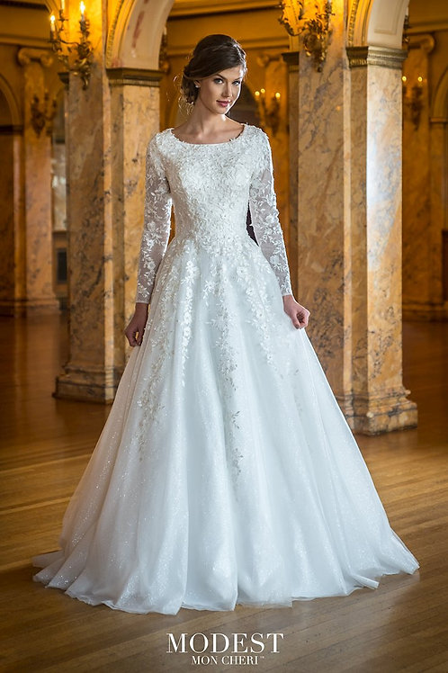 TR22055 Modest by Mon Cheri A-line Wedding Dress- In Stock