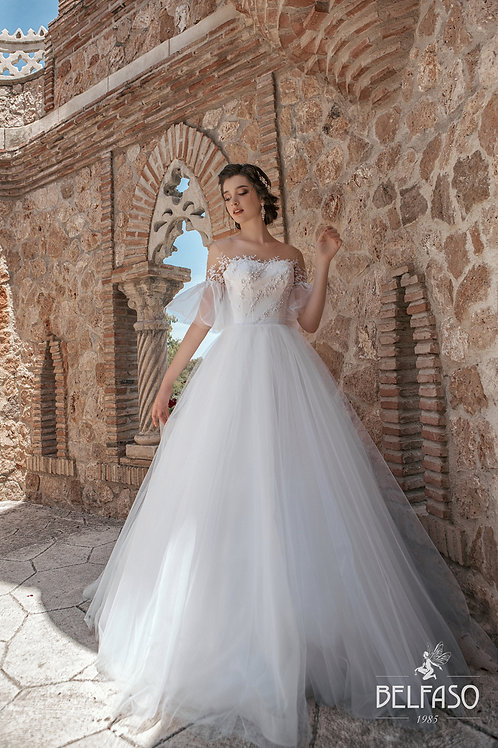Off shoulder wedding dress ballgown a-line lace pearl beading detail