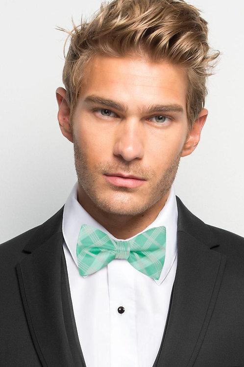 Mint Plaid Bow Tie