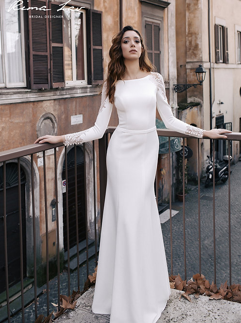 Evora Rima Lav Sheath Wedding Dress- To Order