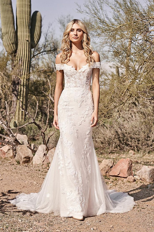 66160 Lillian West Fit & Flare Wedding Dress- In Stock