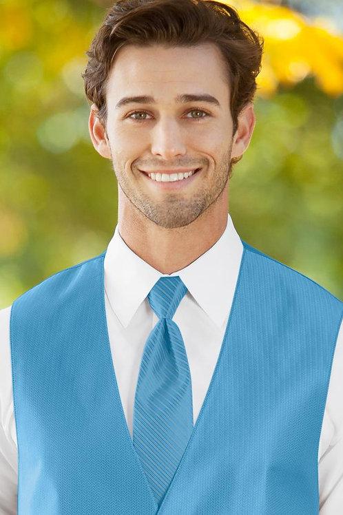 Striped Herringbone Blue Ice Windsor Tie