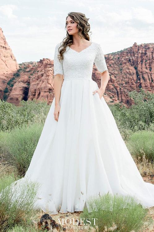 TR12025 Modest by Mon Cheri A-line Wedding Dress- In Stock
