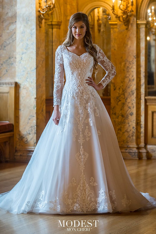 TR22065 Modest by Mon Cheri A-line Wedding Dress- In Stock