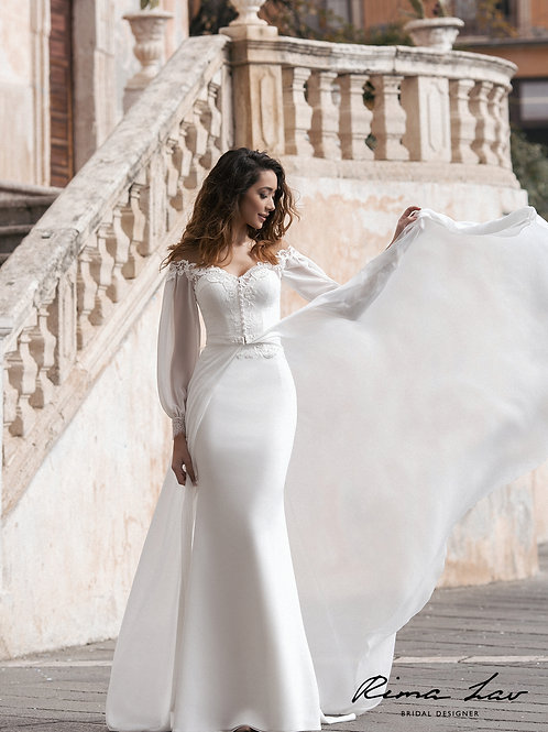Elicka Cape Rima Lav A-line Wedding Dress- To Order