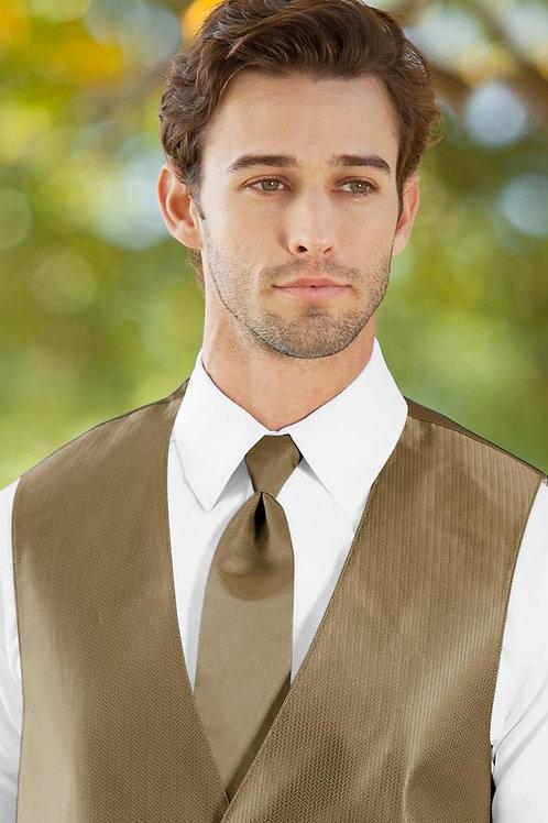Solid Herringbone Gold Windsor Tie