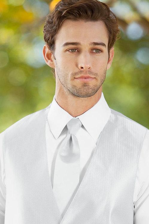 Solid Herringbone White Windsor Tie