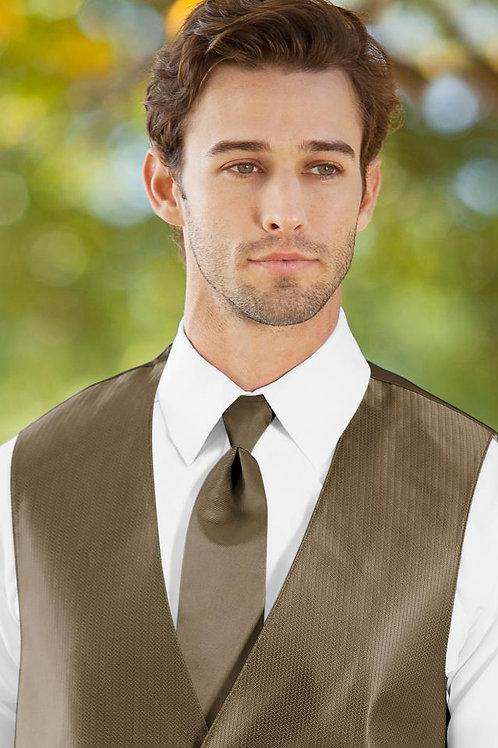Solid Herringbone Latte Windsor Tie