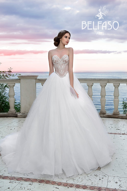 Princess basque ballgown wedding dress with lace on front