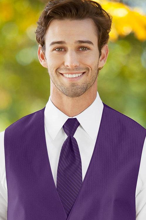 Striped Herringbone Purple Windsor Tie