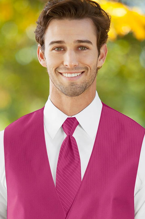 Striped Herringbone Fuchsia Windsor Tie