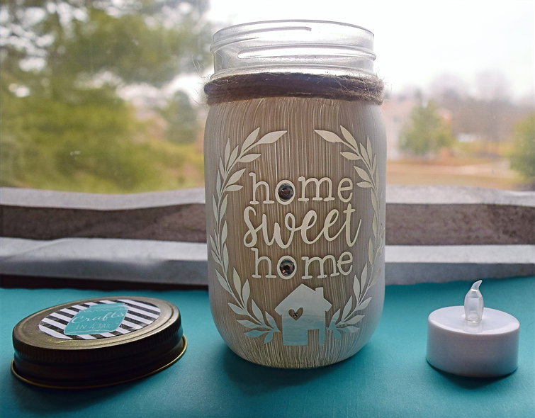 Finished Home Sweet Home Craft Jar