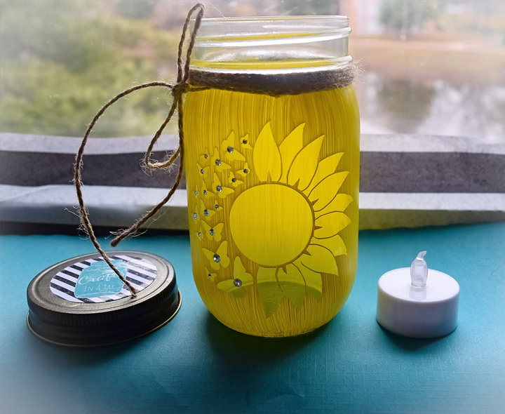 Finished Sunflower Craft Jar