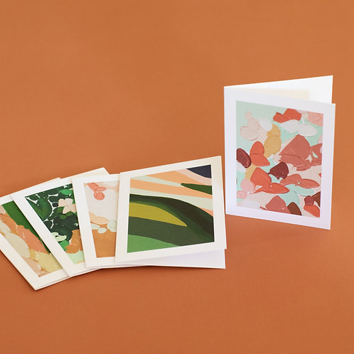 "Set of 5 3""x5"" greeting cards of Erica's work from the Summer/Fall Beatnik Show"