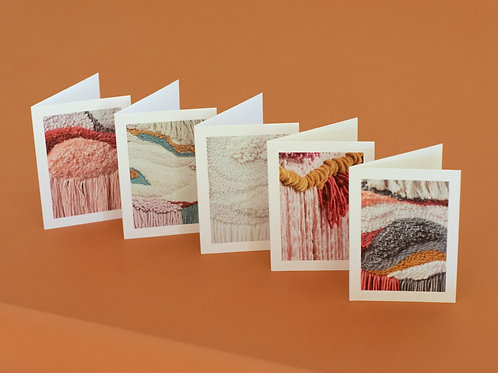 "Set of 5 3""x5"" greeting cards of Laura's work from the Summer/Fall Beatnik Show"