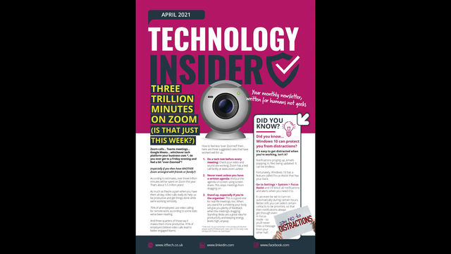 """April's Technology Insider: Three trillion minutes on Zoom… 3 ways to feel less """"over Zoomed """""""