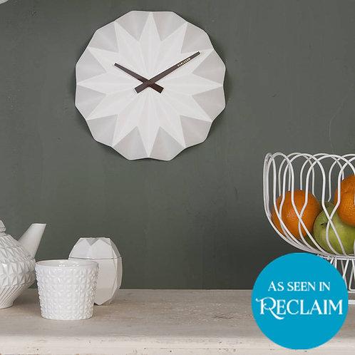 White Ceramic Origami Wall Clock