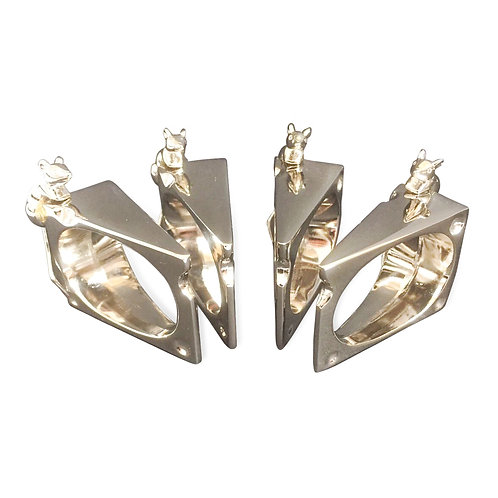 Vinatge Set of Four Mouse and Cheese Napkin Rings