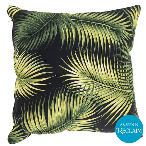 Palm Leaf and Black Cushion Cover