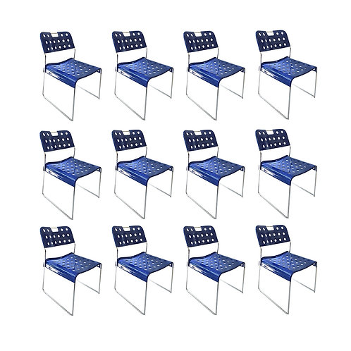 1971, Rodney Kinsman, Set Blue Omstak Stacking Chairs