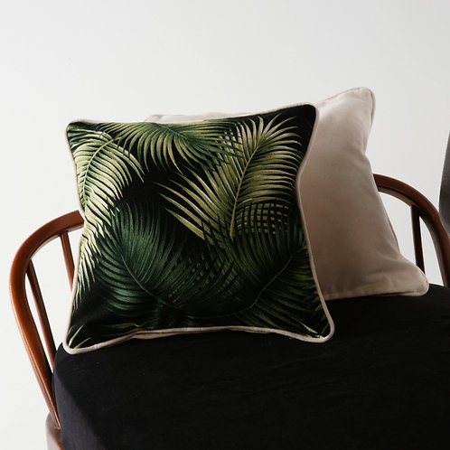 Palm Print Cushion Cover with Cream Piping