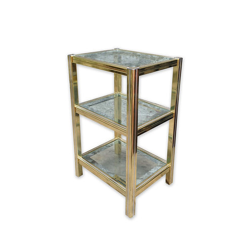 Italian Gold and Silver Polished Metal Display Stand