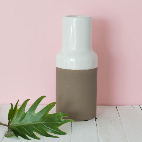 Medium Rough Taupe and White Native Vase