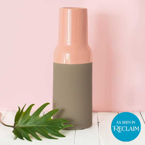 Large Rough Taupe and Peach Pink Native Vase