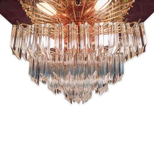 Italian Glass Prism and Gold Plafonnier Chandelier