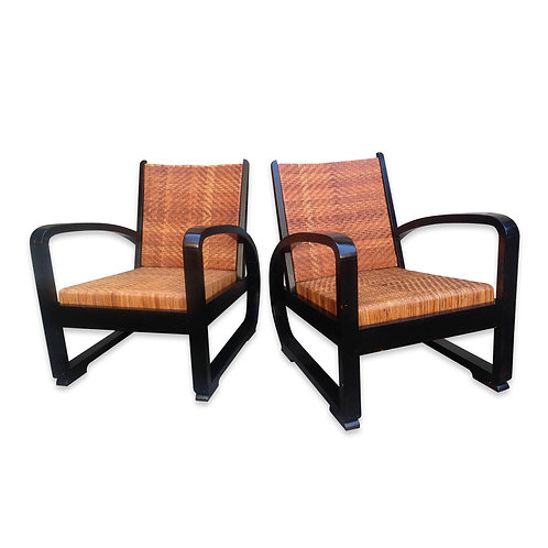 Set of 2 Modernist Rattan Lounge Chairs