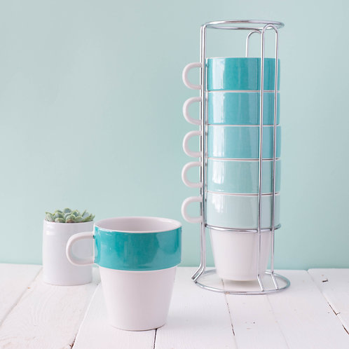 Ombre Mint Green Cappuccino Mug Stacking Tower