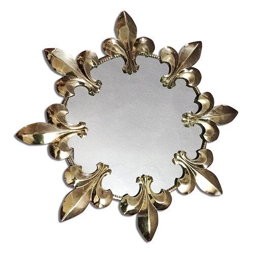 Vintage 1970s Round Wall Mirror Sunburst Fleur De Lys