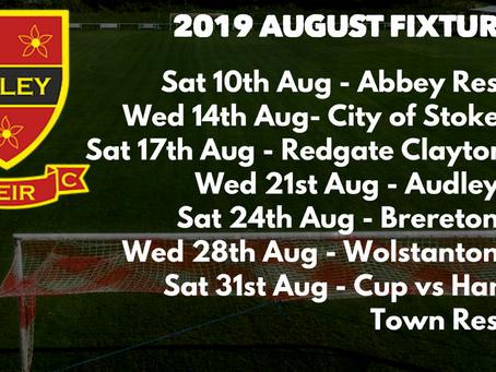 August Fixtures 2019