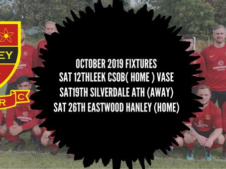 October Fixtures 2019