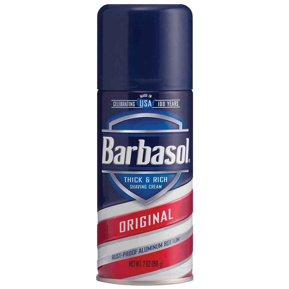 Blue, red, and white can of Barbasol shaving cream.