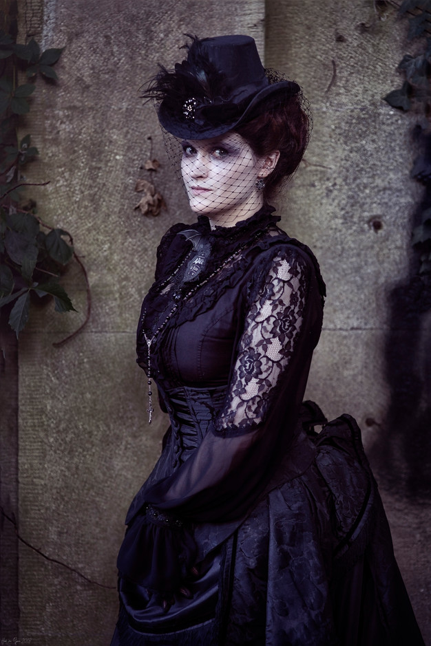 Victorian gothic bustle dress