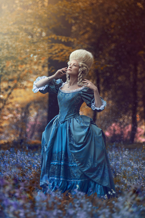 Photo by Original Cin Photography  Model La Dutchessa  Taken in the Netherlands, May 2018  This rococo inspired gown was commissioned for a book project, that was meant to be light, romantic and fairytale like. The silhouette is similar to one of Marie Antoinette early day dresses as seen in the famous film. I modified the bodice for a more dramatic yet feminine look after customer's specifications. This is an ideal dress for a themed wedding, historical ball, fairytale gala or a drag-queen show!