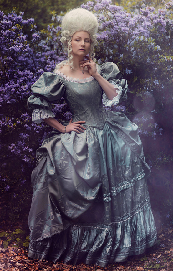 Photo by Original Cin Photography  Model La Dutchessa  Taken in the Netherlands, May 2018  This rococo inspired gown was commissioned for a book project, that was supposed to be light, romantic and fairytale like. The silhouette is similar to one of Marie Antoinette early day dresses as seen in the famous film. I modified the bodice for a more dramatic yet feminine look after customer's specifications.