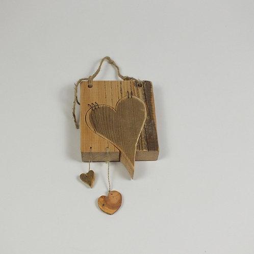 Herz Altholz mit Rahmen, Lärche