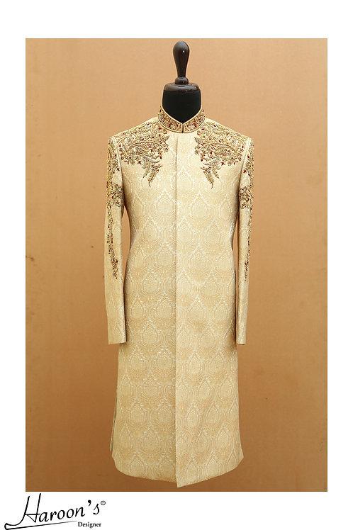 Gold self-print sherwani