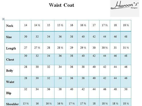 Waist Coat Chart Size