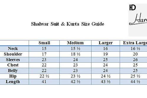 Shalwar Suit & Kurta Size Chart