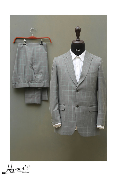 Grey Checked Pattern Pant Coat